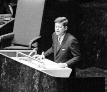 John F. Kennedy Addressing US Staff