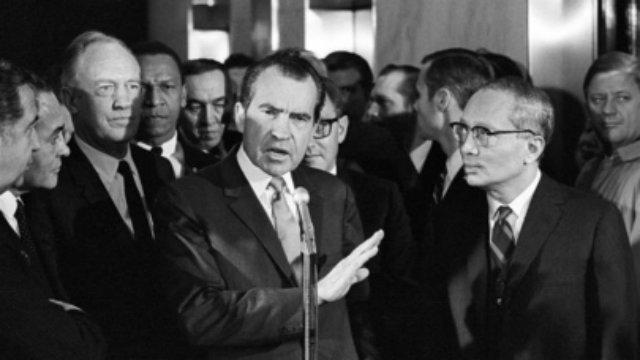 President-Elect Richard Nixon Speaks to Press